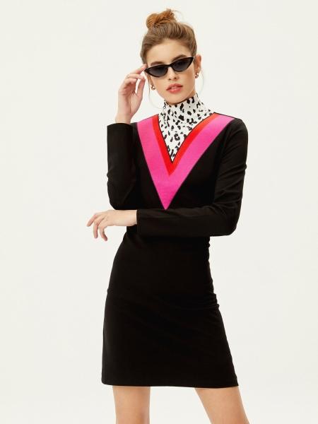 Bowie Vestido Negro Bordado Combinado Animal Print
