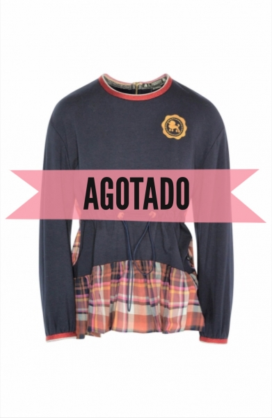 SUDADERA MIX CUADROS ON THE PRAIRIE MARINO